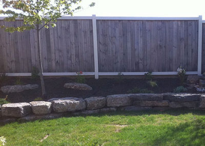 Landscape and retaining wall
